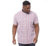 Übergröße Gingham Hemd mit kurzem Arm Rot
