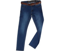 Stretch Knopfleiste Jeans in Slim Passform Verblasstes