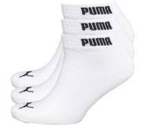 Mens 3 Pack Quarter Socks Weiß