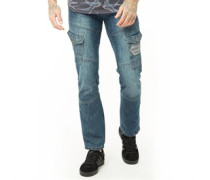 New Cargo Jeans in Slim Passform Verblasstes Denim