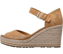 Womens Nice Coast Ankle Strap Wedge Sandals Mid Beige
