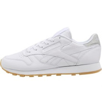 Womens Classic Leather Met Diamond Trainers White/Gum