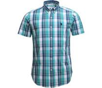 Mens Short Sleeved Check Shirt Sea Green