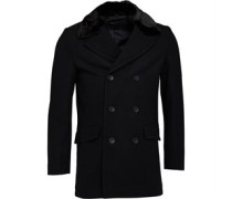Zweireiher Kunstfell Lined Mantel