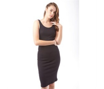 Ribby Bodycon Midi Kleid Black