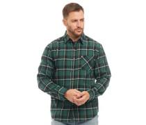 Garn Gefärbt Karo Flanell Hemd mit langem Arm Schwarz