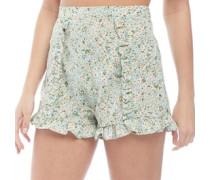 Tropic Floral Druck Ruffle Shorts Hellgrün