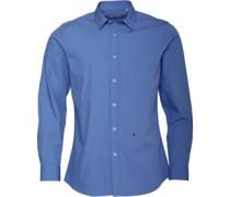 Hemd mit langem Arm Mittelblau