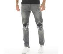 Garda Biker Jeans mit geradem Bein Verblasstes