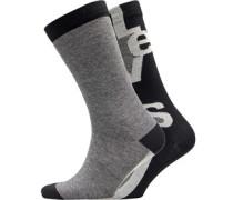 168 Series Streifen Logo Zwei Pack Socken Schwarz