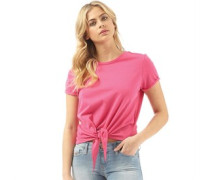 Womens Girl Cropped Tie Front T-Shirt Hot Pink