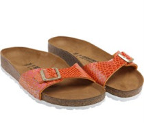 Womens Shiny Snake Sandals Orange