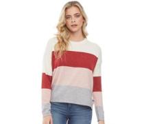 Weiches Streifen Colour Block Pullover mit Rundhalsausschnitt Rostbraun