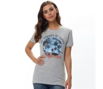 Womens Be Happy T-Shirt Pale Grey Marl