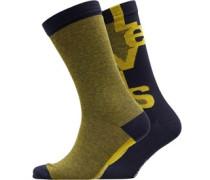 168 Series Streifen Logo Zwei Pack Socken Dunkelgelb