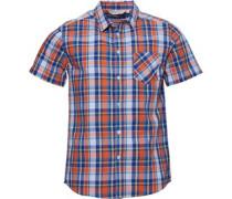 Garn Gefärbt Karo Hemd mit kurzem Arm Orange