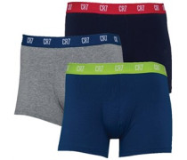 Mens Three Pack Trunks Navy/Grey/Blue