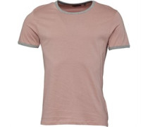 Mens Tallon Crew Neck Contrast T-Shirt Dusty Pink/Light Grey