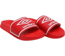 Mens Beach Pool Sliders Hibiscus Red/White