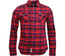 Mens Milled Flannel Long Sleeve Shirt Ontario Navy Check