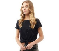Womens Girl Cropped Tie Front T-Shirt Black