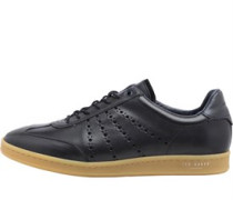 Mens Orlee Leather Trainers Black