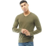 Mens Classic V-Neck Sweater Olive Night
