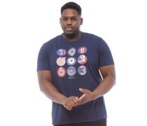 Übergröße British Icons Circles T-Shirt Dunkelnavy