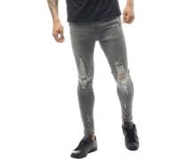 Mens Distressed Skinny Fit Jeans Dark Grey Wash