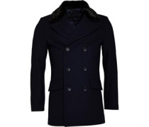 Zweireiher Kunstfell Lined Mantel Navy