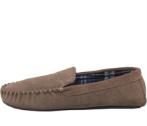 Karo Lined Wildleder Moccasin Hausschuhe