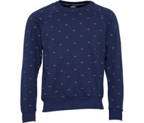 Small Logo AOP Crew Sweatshirt Navy