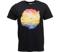 Sunset Druck T-Shirt Schwarz