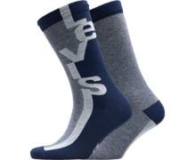 168 Series Streifen Logo Zwei Pack Socken Navy