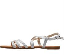 Plaited Sandalen Weiß