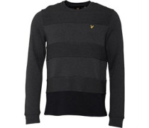Reverse Gestreift Sweatshirt Anthrazitmeliert