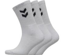 Drei Pack Crew Socken Weiß