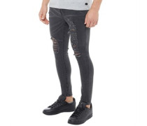 Mens Distressed Slim Fit Jeans Charcoal Wash
