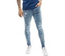 Mens Distressed Slim Fit Jeans Blue Denim Wash