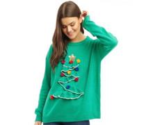 3D Frill Christmas Tree Pullover mit Rundhalsausschnitt