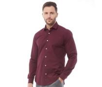 Formal Plain Cut Hemd mit langem Arm Burgunder