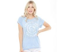 Womens Clara Burn Out Crew Neck T-Shirt Sky Blue
