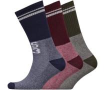 Midnight Court Drei Pack Socken Grünmeliert