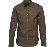Pin Dot Textured Hemd mit langem Arm Khaki