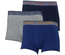 Mens Dominic Three Pack Trunks Denim/Grey/Navy