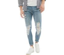 Ripped Skinny Jeans Mittelblau
