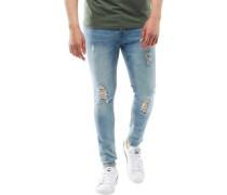 Mens Statham Ripped Skinny Jeans Blue