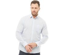 Gestreift Hemd mit langem Arm Weiß