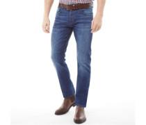 Stretch Jeans mit geradem Bein Dunkel
