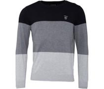 Colour Block Pullover mit Rundhalsausschnitt Schwarz